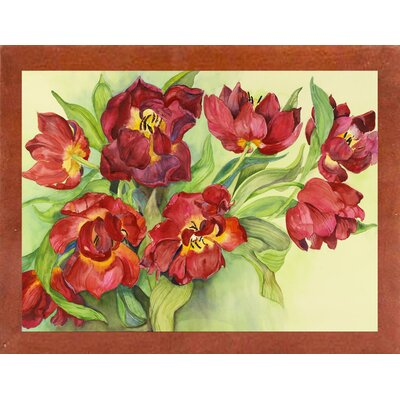 'Double Red Tulips' Print Format: Canadian Walnut Wood Medium Framed Paper