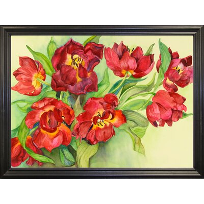 'Double Red Tulips' Print Format: Black Wood Grande Framed Paper