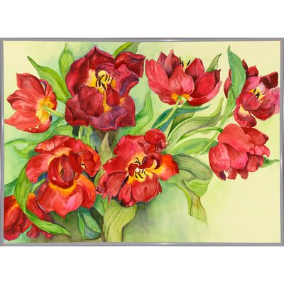 'Double Red Tulips' Print Format: White Metal Framed