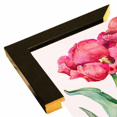 'Cherry Red Tulip' Print Format: Black Wood Medium Framed Paper
