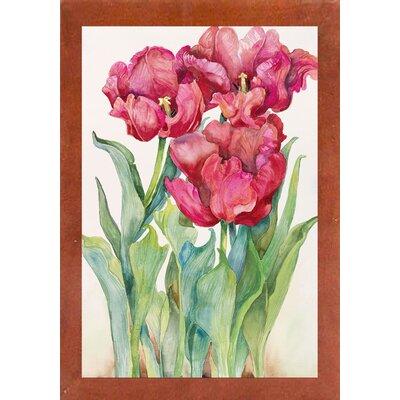 'Cherry Red Tulip' Print Format: Canadian Walnut Wood Medium Framed Paper
