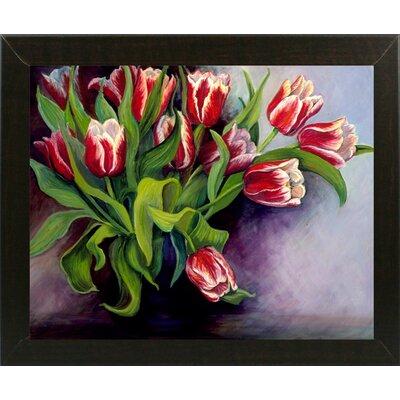 'White Tipped Red Tulips' Print Format: Brazilian Walnut Wood Medium Framed Paper