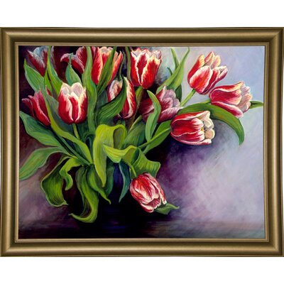 'White Tipped Red Tulips' Print Format: Bistro Gold Framed Paper