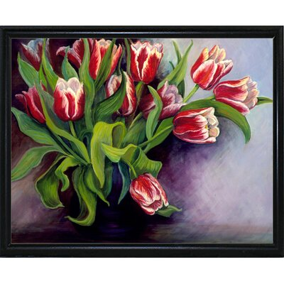 'White Tipped Red Tulips' Print Format: Flat Back Metal Framed