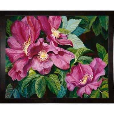 'Wild Red Roses' Print Format: Black Wood Medium Framed Paper