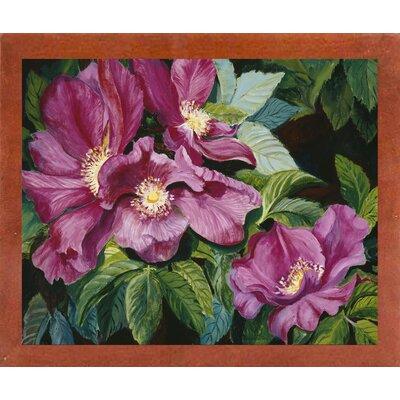 'Wild Red Roses' Print Format: Canadian Walnut Wood Medium Framed Paper