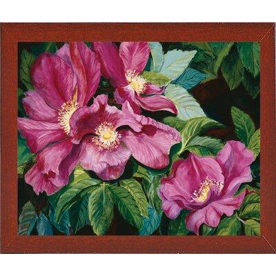 'Wild Red Roses' Print Format: Red Mahogany Wood Medium Framed Paper