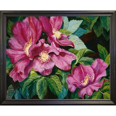 'Wild Red Roses' Print Format: Black Wood Grande Framed Paper