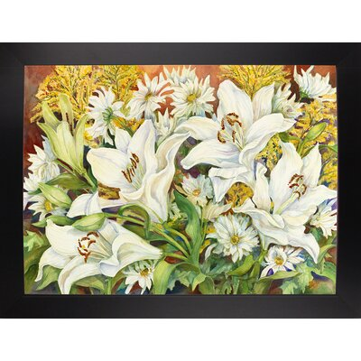 'Lilies and Daisies' Print Format: Black Wood Large Framed Paper