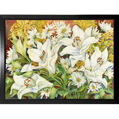 'Lilies and Daisies' Print Format: Black Plastic Framed Paper