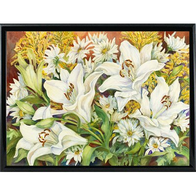 'Lilies and Daisies' Print Format: Shiny Black Metal Framed