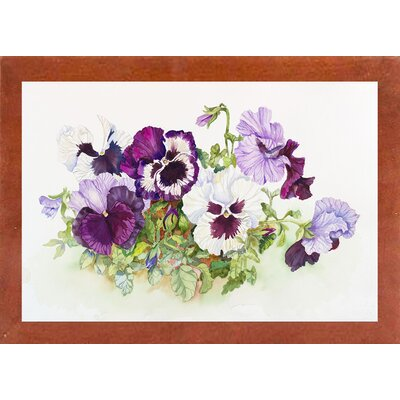 'White and Purple Pansies II' Print Format: Canadian Walnut Wood Medium Framed Paper