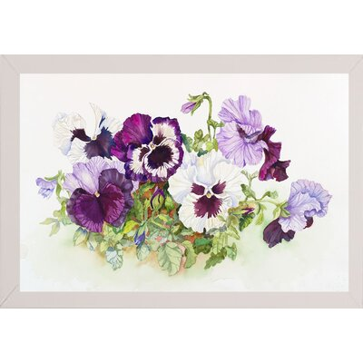 'White and Purple Pansies II' Print Format: White Wood Medium Framed Paper