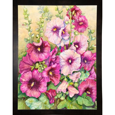 'Hollyhocks' Print Format: Black Wood Medium Framed Paper