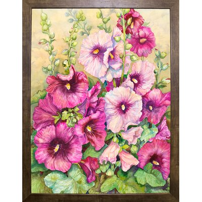 'Hollyhocks' Print Format: Cafe Mocha Framed Paper