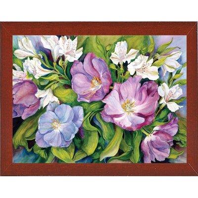 'Purple Tulips/ White Alstroneria' Print Format: Red Mahogany Wood Medium Framed Paper