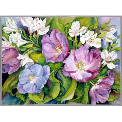'Purple Tulips/ White Alstroneria' Print Format: White Metal Framed