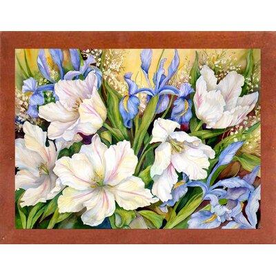 'White Tulips/ Blue Iris' Print Format: Canadian Walnut Wood Medium Framed Paper