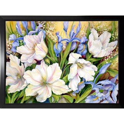 'White Tulips/ Blue Iris' Print Format: Black Plastic Framed Paper