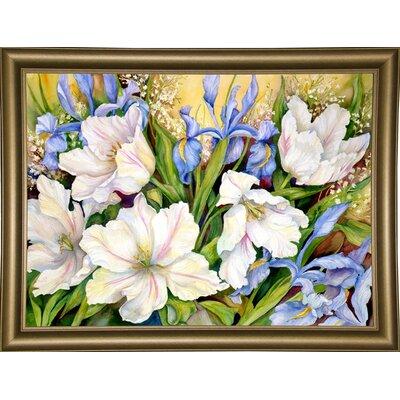 'White Tulips/ Blue Iris' Print Format: Bistro Gold Framed Paper