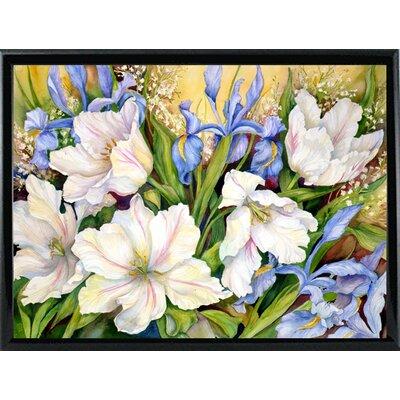 'White Tulips/ Blue Iris' Print Format: Shiny Black Metal Framed