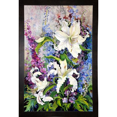 'White Oriental Lilies & Pink And Purple Delphinium' Print Format: Black Wood Medium Framed Paper