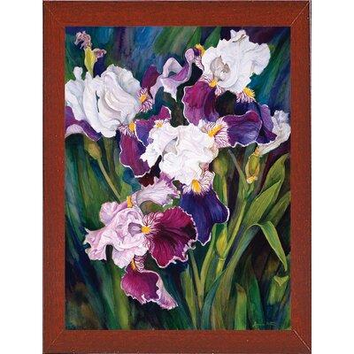'Wind Blown Iris' Print Format: Red Mahogany Wood Medium Framed Paper