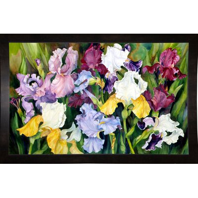 'Multi Colored Field Of Iris' Print Format: Black Wood Medium Framed Paper