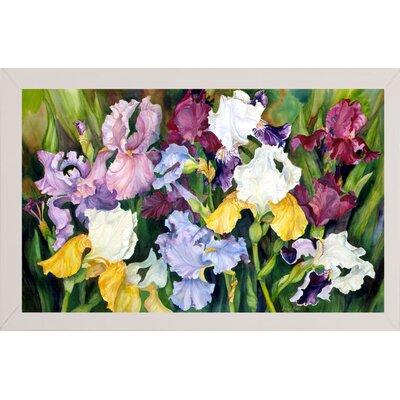 'Multi Colored Field Of Iris' Print Format: White Wood Medium Framed Paper