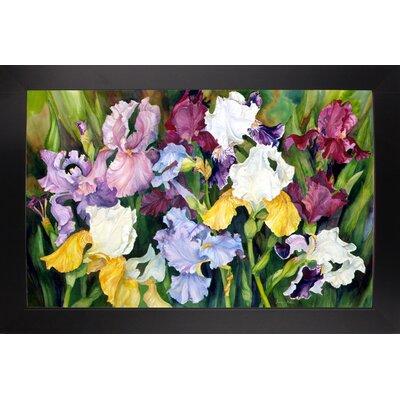 'Multi Colored Field Of Iris' Print Format: Black Wood Large Framed Paper