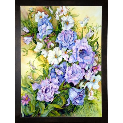 'Blue Prairie Gentian And Cosmos' Print Format: Cafe Espresso Wood Framed Paper
