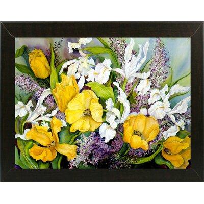 'Yellow Tulips, White Iris And Heather' Print Format: Brazilian Walnut Wood Medium Framed Paper