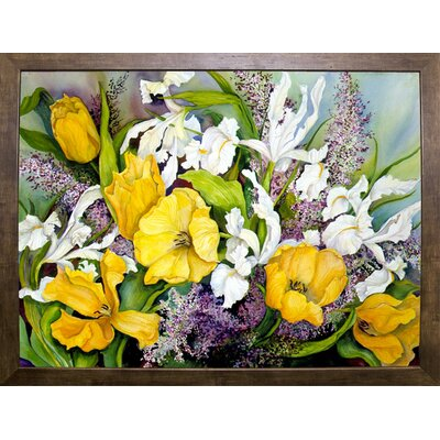 'Yellow Tulips, White Iris And Heather' Print Format: Cafe Mocha Framed Paper