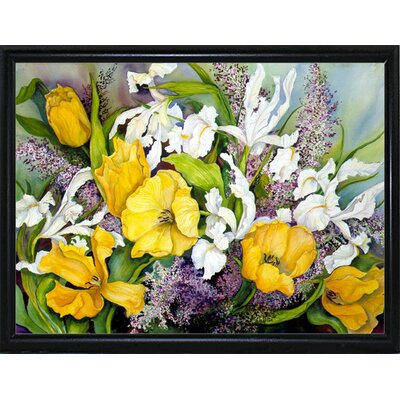 'Yellow Tulips, White Iris And Heather' Print Format: Flat Back Metal Framed