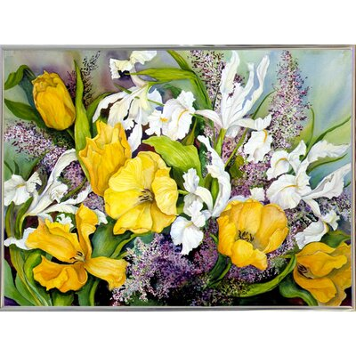 'Yellow Tulips, White Iris And Heather' Print Format: Silver Metal Framed
