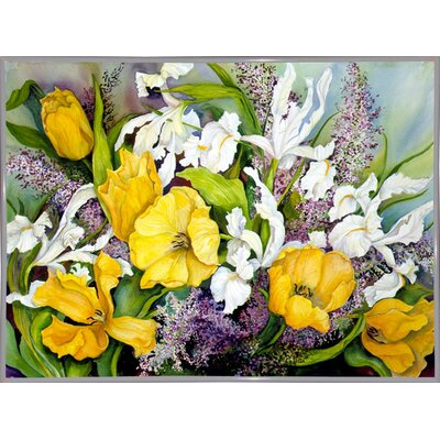 'Yellow Tulips, White Iris And Heather' Print Format: White Metal Framed