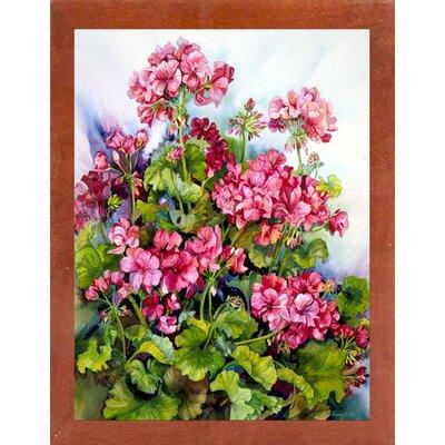 'Red Geranium' Print Format: Canadian Walnut Wood Medium Framed Paper