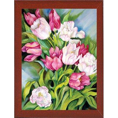 'Light Pink And Dark Tulips' Print Format: Red Mahogany Wood Medium Framed Paper