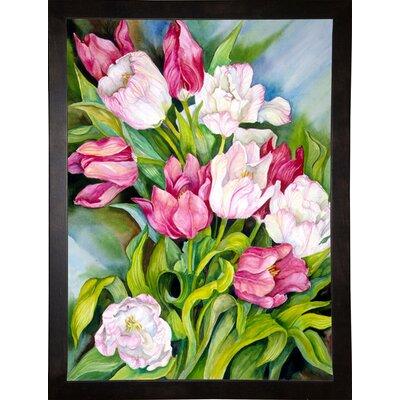'Light Pink And Dark Tulips' Print Format: Cafe Espresso Wood Framed Paper