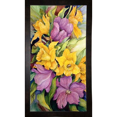 'Tulips And Daffodils' Print Format: Black Wood Medium Framed Paper