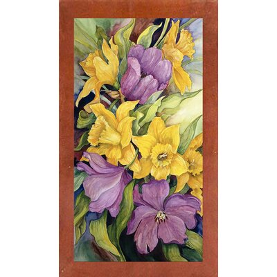 'Tulips And Daffodils' Print Format: Canadian Walnut Wood Medium Framed Paper