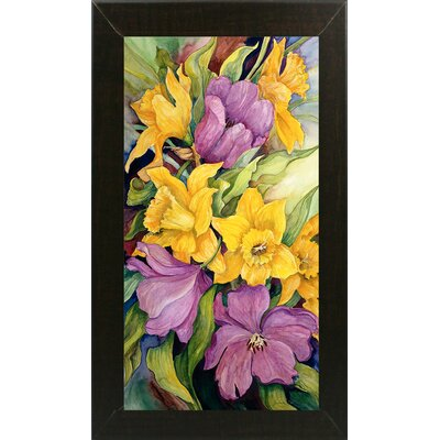 'Tulips And Daffodils' Print Format: Brazilian Walnut Wood Medium Framed Paper