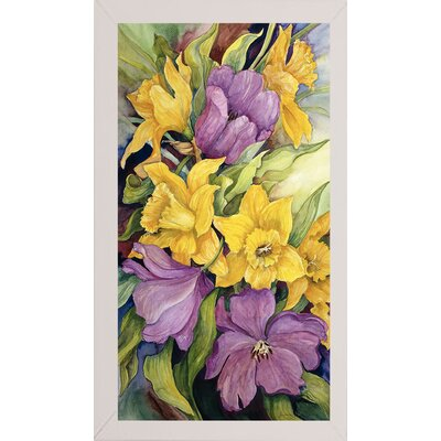 'Tulips And Daffodils' Print Format: White Wood Medium Framed Paper