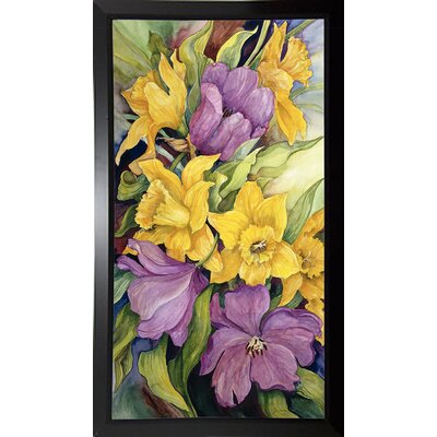 'Tulips And Daffodils' Print Format: Black Plastic Framed Paper
