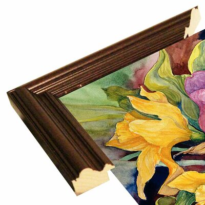 'Tulips And Daffodils' Print Format: Cherry Wood Grande Framed Paper