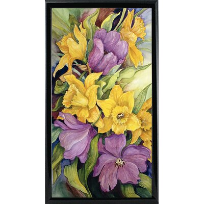 'Tulips And Daffodils' Print Format: Black Metal Framed Paper