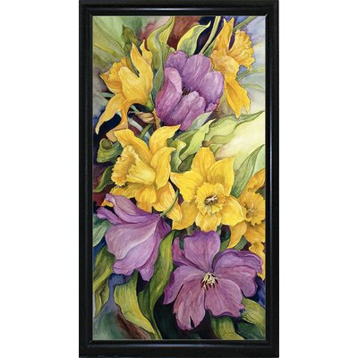 'Tulips And Daffodils' Print Format: Black Metal Flat Framed Paper