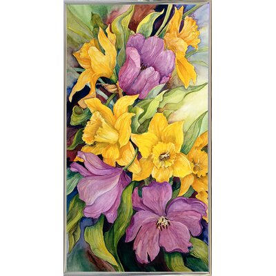 'Tulips And Daffodils' Print Format: Silver Metal Framed Paper