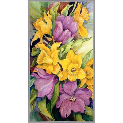 'Tulips And Daffodils' Print Format: White Metal Framed Paper