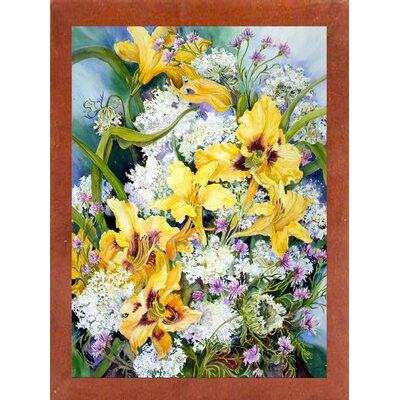 'Wild Flowers And Daylilies' Print Format: Canadian Walnut Wood Medium Framed Paper